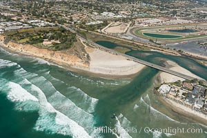 Aerial photo of San Dieguito Lagoon and Dog Beach.  San Dieguito Lagoon State Marine Conservation Area (SMCA) is a marine protected area near Del Mar in San Diego County. Del Mar, California, USA, natural history stock photograph, photo id 30604