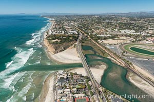 Aerial photo of San Dieguito Lagoon and Dog Beach.  San Dieguito Lagoon State Marine Conservation Area (SMCA) is a marine protected area near Del Mar in San Diego County. Del Mar, California, USA, natural history stock photograph, photo id 30605