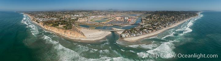 Aerial Photo of San Dieguito River and Dog Beach Del Mar, including Del Mar Racetrack, Solana Beach and Del Mar. Del Mar, California, USA, natural history stock photograph, photo id 30850