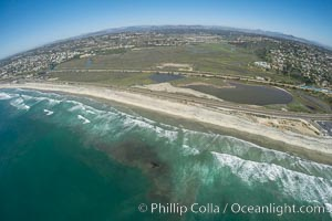 Aerial Photo of San Elijo Lagoon and Cardiff Reef beach. San Elijo Lagoon Ecological Reserve is one of the largest remaining coastal wetlands in San Diego County, California, on the border of Encinitas, Solana Beach and Rancho Santa Fe. Encinitas, California, USA, natural history stock photograph, photo id 30582
