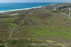 Aerial Photo of San Elijo Lagoon. San Elijo Lagoon Ecological Reserve is one of the largest remaining coastal wetlands in San Diego County, California, on the border of Encinitas, Solana Beach and Rancho Santa Fe. Encinitas, California, USA, natural history stock photograph, photo id 30585