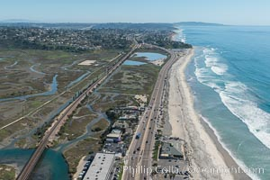 Aerial Photo of San Elijo Lagoon and Cardiff Reef beach. San Elijo Lagoon Ecological Reserve is one of the largest remaining coastal wetlands in San Diego County, California, on the border of Encinitas, Solana Beach and Rancho Santa Fe. Encinitas, California, USA, natural history stock photograph, photo id 30595