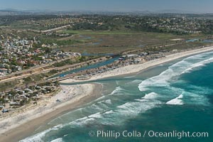 Aerial Photo of San Elijo Lagoon and Cardiff Reef beach. San Elijo Lagoon Ecological Reserve is one of the largest remaining coastal wetlands in San Diego County, California, on the border of Encinitas, Solana Beach and Rancho Santa Fe. Encinitas, California, USA, natural history stock photograph, photo id 30596