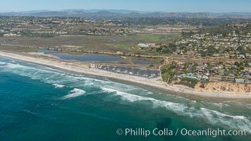 Aerial Photo of San Elijo Lagoon and Cardiff Reef beach. San Elijo Lagoon Ecological Reserve is one of the largest remaining coastal wetlands in San Diego County, California, on the border of Encinitas, Solana Beach and Rancho Santa Fe. Encinitas, California, USA, natural history stock photograph, photo id 30600