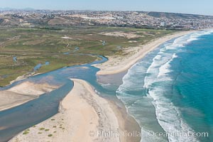 Aerial Photo of Tijuana River Mouth SMCA.  Tijuana River Mouth State Marine Conservation Area borders Imperial Beach and the Mexican Border. Imperial Beach, California, USA, natural history stock photograph, photo id 30655
