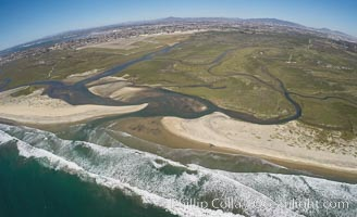 Aerial Photo of Tijuana River Mouth SMCA.  Tijuana River Mouth State Marine Conservation Area borders Imperial Beach and the Mexican Border. Imperial Beach, California, USA, natural history stock photograph, photo id 30657