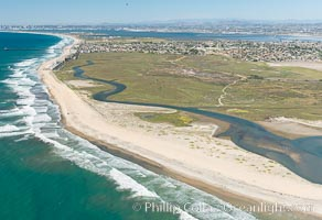 Aerial Photo of Tijuana River Mouth SMCA.  Tijuana River Mouth State Marine Conservation Area borders Imperial Beach and the Mexican Border. Imperial Beach, California, USA, natural history stock photograph, photo id 30658