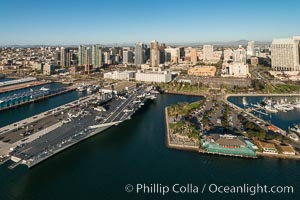 Aerial Photo of USS MIdway Museum and Downtown San Diego