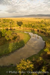 Aerial view of the Mara River, Maasai Mara, Kenya.  Photo taken while hot air ballooning at sunrise, Maasai Mara National Reserve