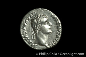 An original tribute penny.  Roman emperor Tiberius (14-37 A.D.), depicted on ancient Roman coin (silver, denom/type: Denarius) (AR, Denarius Obverse: Bust right TI CEASAR DIVI AVG F AVGVSTVS. Reverse: Livia seated right, holding olive branch, ornate legs on chair. PONTIF MAXIM. Tribute penny. Sear 567.).,  Copyright Phillip Colla, image #06528, all rights reserved worldwide.