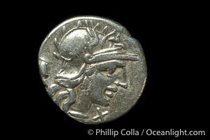 Ancient Roman coin, minted by Sexulus Pompeius Fostlus (137 B.C.), (silver, denom/type: Denarius)