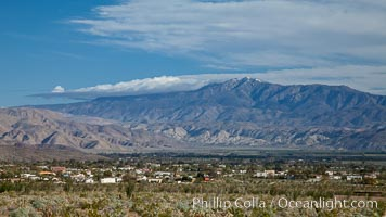 Anza-Borrego Desert State Park, viewed from Glorietta Canyon north over the town of Borrego Springs, with Coyote Mountain in the distance, Anza Borrego, California
