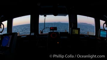 Approaching West Falkland Islands, from the wheelhouse of the M/V Polar Star, at dawn