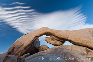 Arch Rock in Joshua Tree National Park.  A natural stone arch in the White Tank area of Joshua Tree N.P