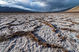 Erosion in the salt patterns of Badwater Playa, Death Valley National Park