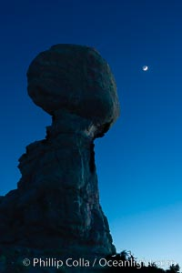 Balanced Rock and Moon at night, Arches National Park
