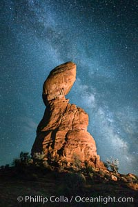 Balanced Rock and Milky Way stars at night, Arches National Park, Utah