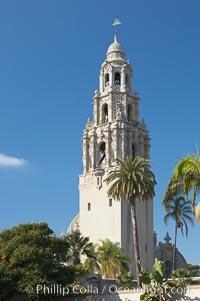 The California Tower rises 200 feet above Balboa Park, San Diego