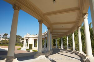 Columns and breezeway of the Spreckels Organ Pavilion in Balboa Park, San Diego.  The Spreckels Organ is the largest musical instrument in the world.  Built in 1915, it is played weekly during a free one-hour recital each Sunday