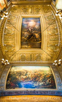 The Battle of the Nile, also known as the Battle of Aboukir Bay, in French as the Bataille d'Aboukir, panaramic photo showing wall and ceiling detail, Chateau de Versailles, Paris, France