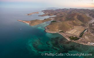 Bay of La Paz coast near Playa el Tesoro, Aerial Photo at Sunrise