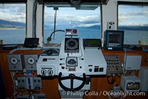 Steering controls on the M/V Polar Star as it passes south through the Beagle Channel, Ushuaia, Tierra del Fuego, Argentina