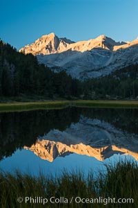 Bear Creek Spire over Marsh Lake at Sunrise, Little Lakes Valley, John Muir Wilderness, Inyo National Forest, Little Lakes Valley, Inyo National Forest