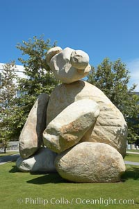 "Bear, another of the odd outdoor ""art"" pieces of the UCSD Stuart Collection.  Created by Tim Hawkinson in 2001 of eight large stones, it sits in the courtyard of the UCSD Jacobs School of Engineering, University of California, San Diego, La Jolla"