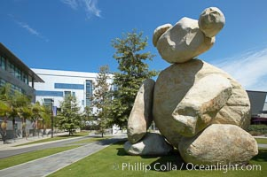"""Bear, another of the odd outdoor """"art"""" pieces of the UCSD Stuart Collection.  Created by Tim Hawkinson in 2001 of eight large stones, it sits in the courtyard of the UCSD Jacobs School of Engineering, University of California, San Diego, La Jolla"""