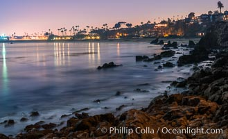 Big Corona Beach, aka Corona del Mar State Beach, at night lit by full moon, Newport Beach. Newport Beach, California, USA, natural history stock photograph, photo id 28865