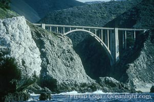 Bixby Bridge on Highway 1, Lobos Rocks in foreground, Big Sur, California