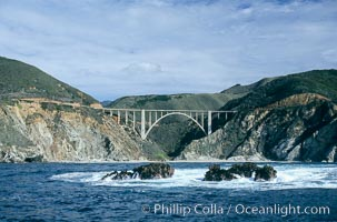 Bixby Bridge on Highway 1, Lobos Rocks in foreground,  Big Sur