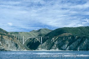Bixby Bridge on Highway 1, Lobos Rocks in foreground, Santa Lucia mountains in the background, Big Sur, California