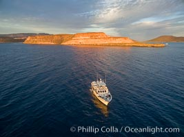 Boat Ambar, Punta Prieta and San Gabriel Bay, Aerial Photo, Sunset, Isla Espiritu Santo, Baja California, Mexico