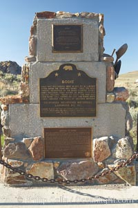 Monument and sign commemorating Bodie State Historical Park