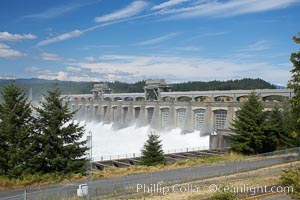 Bonneville Lock and Dam consists of several dam structures that together complete a span of the Columbia River between the US states of Oregon and Washington. The dam is located 40 miles east of Portland, Oregon, in the Columbia River Gorge. The primary functions of Bonneville Lock and Dam are those of electrical power generation and river navigation, Bonneville Dam and Locks
