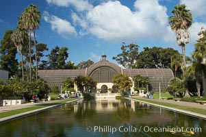 The Botanical Building in Balboa Park, San Diego.  The Botanical Building, at 250 feet long by 75 feet wide and 60 feet tall, was the largest wood lath structure in the world when it was built in 1915 for the Panama-California Exposition. The Botanical Building, located on the Prado, west of the Museum of Art, contains about 2,100 permanent tropical plants along with changing seasonal flowers. The Lily Pond, just south of the Botanical Building, is an eloquent example of the use of reflecting pools to enhance architecture. The 193 by 43 foot pond and smaller companion pool were originally referred to as Las Lagunas de las Flores (The Lakes of the Flowers) and were designed as aquatic gardens. The pools contain exotic water lilies and lotus which bloom spring through fall.  Balboa Park, San Diego. Balboa Park, San Diego, California, USA, natural history stock photograph, photo id 14577