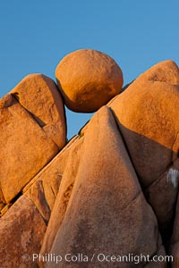 Boulders and sunset in Joshua Tree National Park.  The warm sunlight gently lights unusual boulder formations at Jumbo Rocks in Joshua Tree National Park, California. Joshua Tree National Park, California, USA, natural history stock photograph, photo id 26726