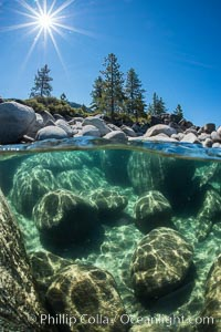 Boulders underwater, Lake Tahoe, Nevada. Lake Tahoe, Nevada, USA, natural history stock photograph, photo id 32354