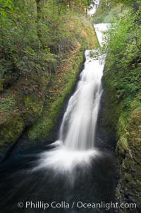 Bridal Veil Falls, a 140 foot fall in the Columbia River Gorge, is not to be confused with the more famous Bridalveil Falls in Yosemite National Park, Columbia River Gorge National Scenic Area, Oregon