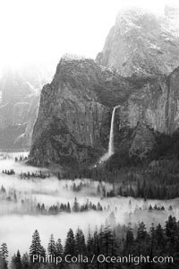 Bridalveil Falls and misty Yosemite Valley. Bridalveil Falls, Yosemite National Park, California, USA, natural history stock photograph, photo id 22796