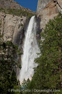 Bridalveil Falls at peak flow in spring, Yosemite National Park, California