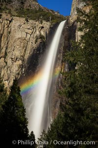 Bridalveil Falls with a rainbow forming in its spray, dropping 620' into Yosemite Valley, displaying peak water flow in spring months from deep snowpack and warm weather melt, Yosemite National Park, California