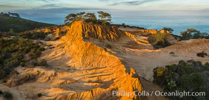 Broken Hill and view to La Jolla, from Torrey Pines State Reserve, sunrise, San Diego, California