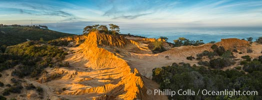 Broken Hill and view to La Jolla, panoramic photograph, from Torrey Pines State Reserve, sunrise. Torrey Pines State Reserve, San Diego, California, USA, natural history stock photograph, photo id 28397