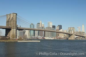 Brooklyn Bridge viewed from Brooklyn.  Lower Manhattan visible behind the Bridge, New York City