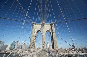 Brooklyn Bridge cables and tower, New York City