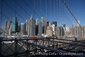 Lower Manhattan skyline viewed from the Brooklyn Bridge, New York City