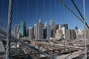 Lower Manhattan skyline viewed from the Brooklyn Bridge. Brooklyn Bridge, New York City, New York, USA, natural history stock photograph, photo id 11094
