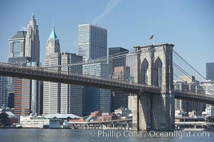 Lower Manhattan and Brooklyn Bridge, viewed from the East River. Manhattan, New York City, New York, USA, natural history stock photograph, photo id 11118